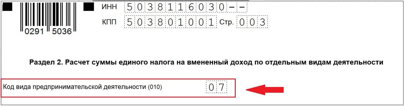 Код вида деятельности ЕНВД