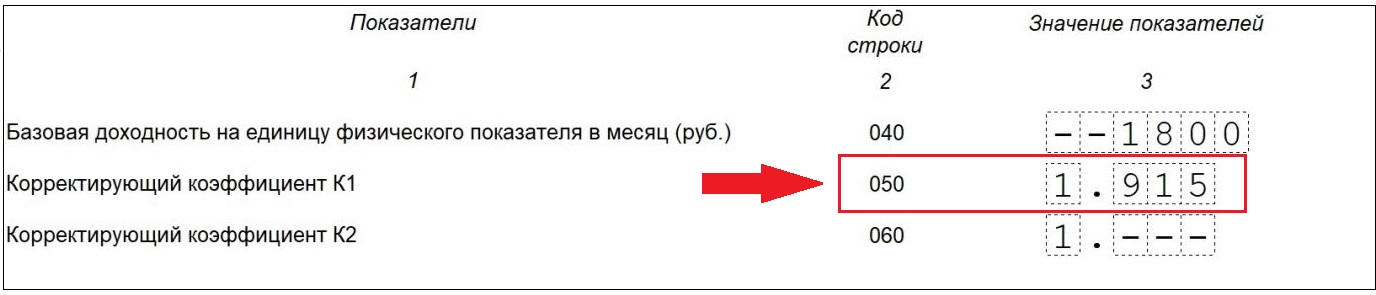 Дефлятор К1 для ЕНВД