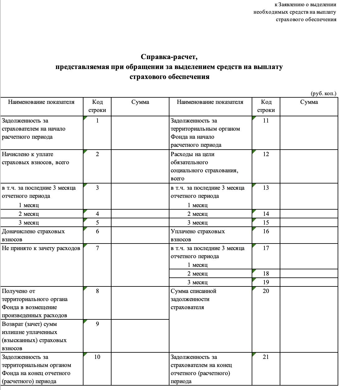 Справка-расчет для возмещения пособия из ФСС в 2019 году образец