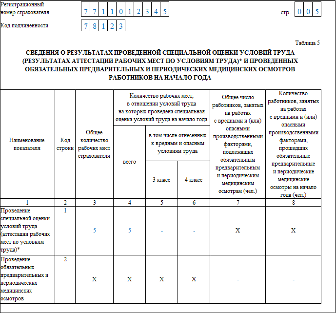 Таблица 5 формы 4-ФСС 2019