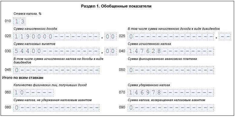 Подарок в 6-НДФЛ разд. 1