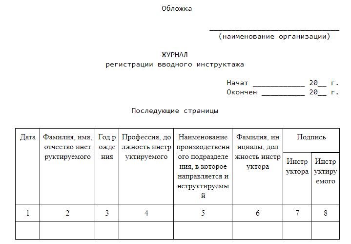 Журнал Регистрации Инструктажа по Технике Безопасности образец