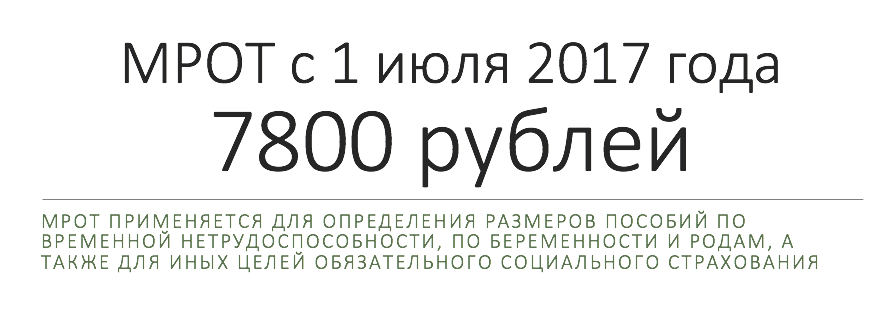 МРОТ с 1 июля 2017 года