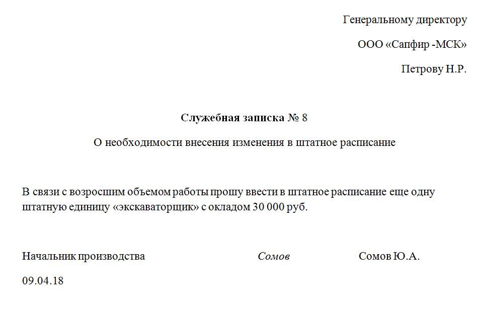 Вводим штатную единицу: образец обоснования