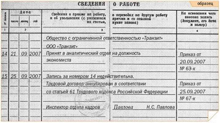 Изображение - Аннулирование трудового договора zapis-v-trudov-knizh-annulirovanie
